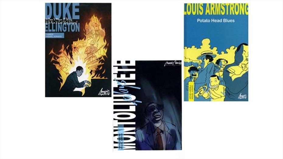 Pack de còmics i CD's de músics de jazz