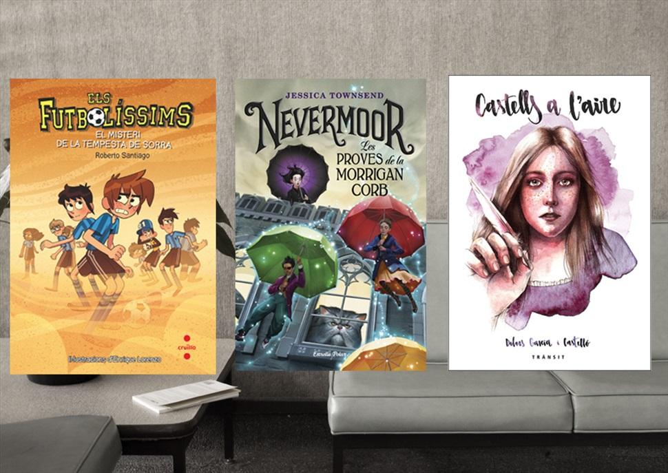 Llibres: Castells a l'aire, Els futbolíssims, Nevermoor. Les proves de la Morrigan Corb